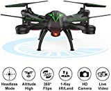 Beebeerun WiFi FPV Quadcopter Drone with Camera Live Video 2.4GHz Headless Mode Altitude Hold One-Key Function VR Headset-Compatible Gravity Induction Damage Resistance (Black Drones with Camera)