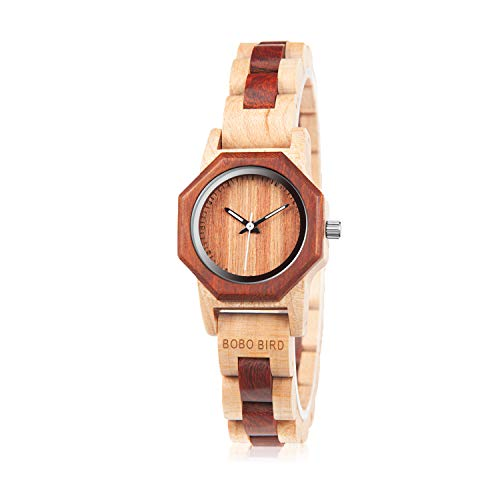 BOBO BIRD Womens 27MM Handmade Wooden Watch Exquisite Lightweight Wristwatch Natural Red Sandalwood with Bracelet Clasp Watches with Gift Box