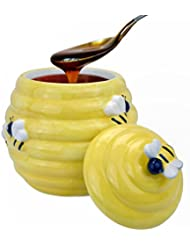 MyGift Decorative Yellow Beehive Design Ceramic Cookie Jar W Bee Handle Lid