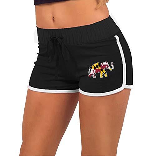 Elephant Maryland Flag,Running Hot Pants Pants with,Athletic Elastic Waist Womens Sports Shorts Black