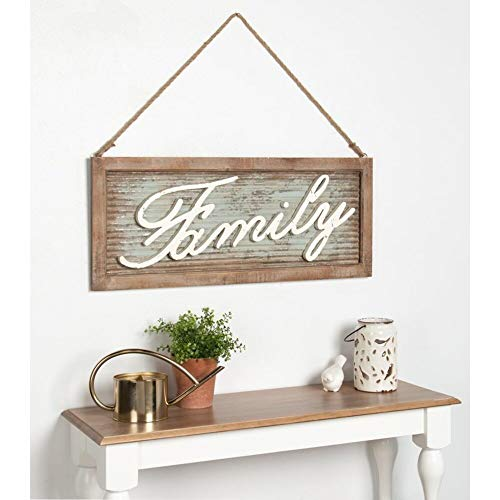 Gracie Oaks Pewter 'Family' Iron and Wood Wall ()