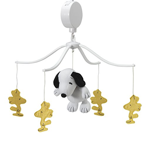 Bedtime Originals Peanuts Forever Snoopy Musical Mobile, White/Yellow (Snoopy Mobile Musical)