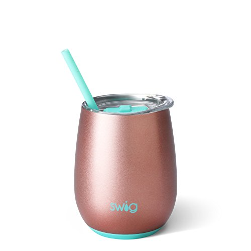 Swig Life Stainless Steel Signature 14oz Stemless Wine Cup with Spill Resistant Slider Lid and Reusable Straw in Rose Gold