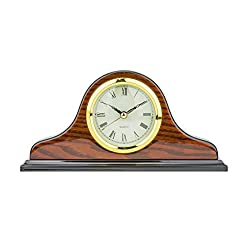 Mantel Clock 5.0 H x 9.5L x 2.0 W Quartz, Decorative Shelf Clock, Fireplace Wood Antique Vintage Clocks, Battery Operated (Battery NOT INCLUDED)