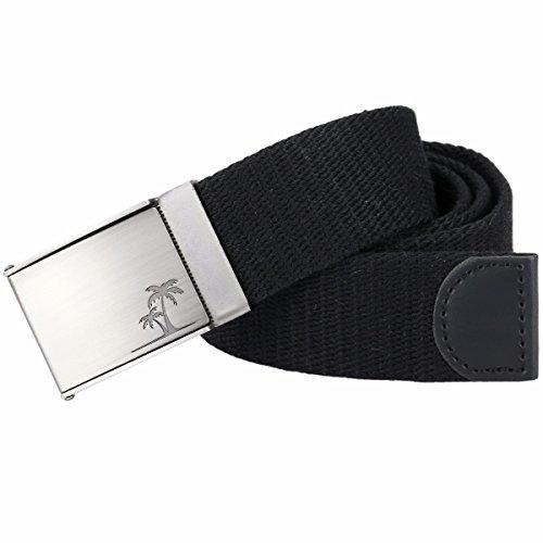 Samtree Men's Military Style Canvas Web Belt Removable Flip Top Buckle (Black)