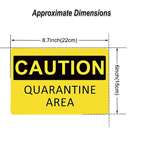 Caution Quarantine Area Sign (10 Pack), YTFGGY Safety Warning Sticker 8.7