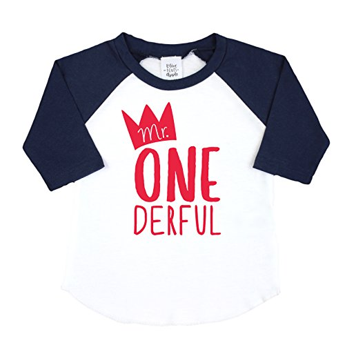 Mr One-Derful Baseball Tee Shirt for Boys 1st Birthday Shirt by Olive Loves Apple (Image #4)