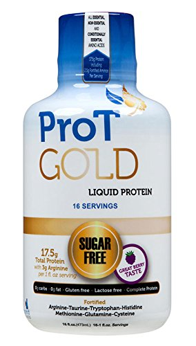 - ProT GOLD - Berry Sugar Free Liquid Protein Shot - 16oz Bottle with 16 1oz Servings - Anti Aging Liquid Collagen. A Clinically Proven Nano Hydrolyzed Protein Used in Over 3000 Medical Facilities