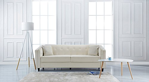 Classic Victorian Style Tufted Velvet Sofa, Living Room Couch with Tufted Buttons (Ivory)
