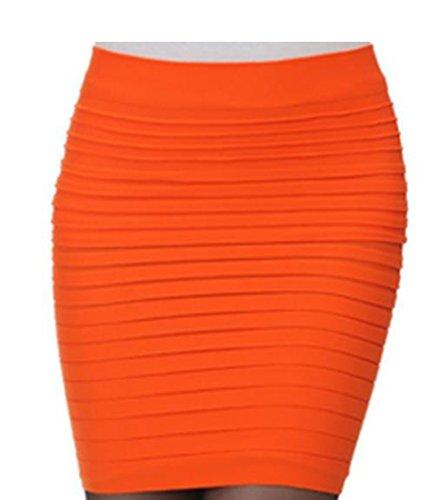 Encounter Femme Jupe Moulante courte taille haute plisse Package Hanche Orange