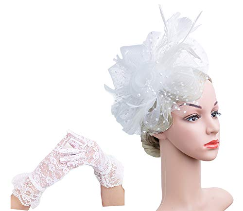 (Flower Cocktail Tea Party Headwear Feather Fascinators Top Hat for Girls and Women(1-A-White)