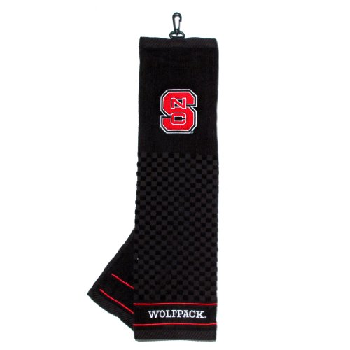 Team Golf NCAA NC State Wolfpack Embroidered Golf Towel, Checkered Scrubber Design, Embroidered Logo