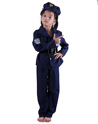 HDE Childs Police Officer Halloween Costume Dress Up Cop Uniform Outfit with Cap