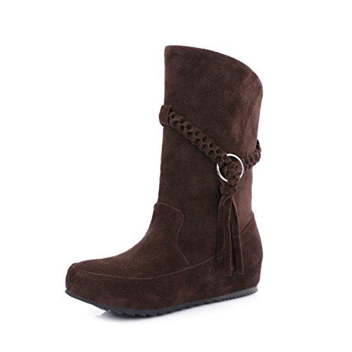 Mfairy Damesmode Lente / Herfst Casual Middenkuit Slip-on Laarzen Verborgen Hak Plus Size Laarzen Bruin