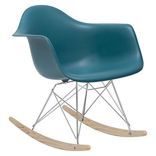 (POLY & BARK EM-121-TEA-AMA Rocker Lounge Chair, Teal )