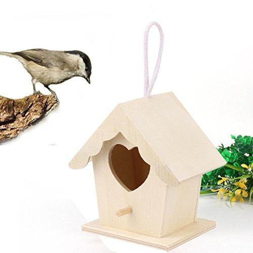HP95 Wood Nest House Birds Wooden House Wren Home Cedar Birdhouse (C) ()