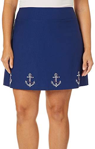 Coral Bay Plus Embellished Anchor Border Skort 1X Navy Blue
