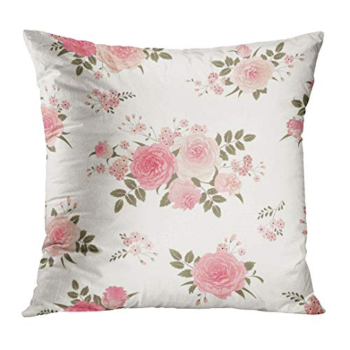 TOMKEYS Throw Pillow Cover Pink Flower Floral with Bouquets of Roses Vintage for Shabby Chic Style Pattern Green Pastel Decorative Pillow Case Home Decor Square 18x18 Inches Pillowcase