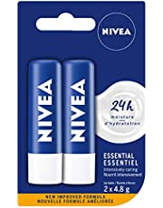 NIVEA Essential Lip Balm (2 x 4.8g), Intensive Caring Lip Moisturizer with Jojoba Oil, Natural Avocado & Shea Butter, 24H Hydration