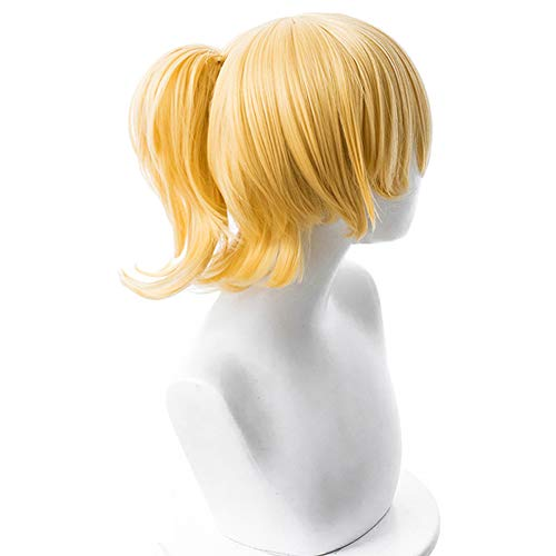 Shancon Bowsette Cosplay Wig Ponytail Short Yellow Women