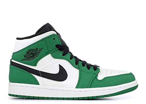 Jordan Mens Air 1 Mid SE Leather Synthetic Pine Green Sail Black Trainers 11 US (Nike Top Green High Shoes)
