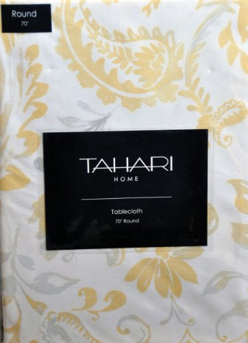 Tahari Fabric Tablecloth 70 Round Yellow Gray Floral