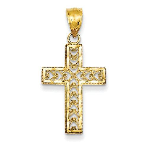 Pendentif Croix en filigrane en or 14carats-Dimensions 21x 15mm