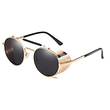 Amazon.com: PyLios 9234 Gafas de sol redondas Steampunk para ...