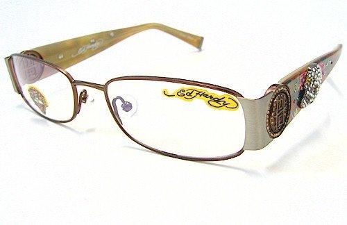 Ed Hardy EHO-711 Womens Designer Eyeglasses - Brown/Pewter