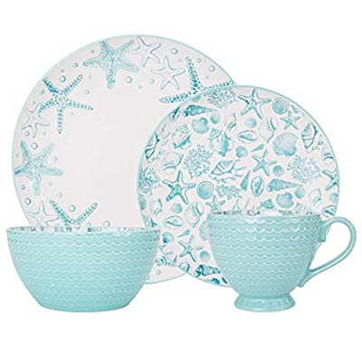 Pfaltzgraff Venice 16-Piece Stoneware Dinnerware Set, Service for 4, Aqua/White - 5217125 - DINNERWARE SET FOR 4: This 16-piece dinnerware set, service for four, includes 4 each of: 10-1/2 inch dinner plate, 8-1/2 inch Salad plate, 6-inch bowl, and 12-ounce mug BEAUTIFUL DETAILS AND DESIGN: A whimsical starfish and seashell pattern splashes across the surface and the bright teal exterior enhances the coastal theme. DURABLE AND HIGH QUALITY: Made from high quality stoneware for long lasting beauty and durability - kitchen-tabletop, kitchen-dining-room, dinnerware-sets - 41WFseHn3SL. SS400  -