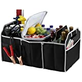 2 in 1 Trunk Organizer & Cooler Set - Collapsible Folding Flat Trunk Organizer Storage 2 Piece Set for Car SUV Truck in Black By USA Cash and Carry - PrimeTrendz TM.