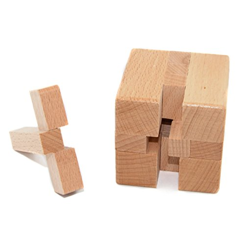 Wooden Ball Puzzle - KINGOU Wooden Magic Cube Logic Puzzle Burr Puzzles Brain Teaser Intellectual Removing Assembling Toy