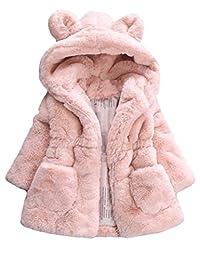 Mallimoda Girls Winter Warm Ear Hooded Faux Fur Fleece Jacket Coats