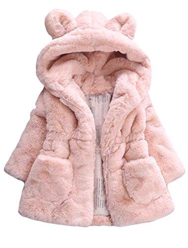 Mallimoda Girls Winter Warm Ear Hooded Faux Fur Fleece Jacket Coats Pink 5-6 Years