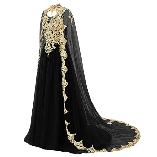 Plus Size Gold Lace Vintage Long Prom Evening Dress Wedding Gown with Cape Red US 20W