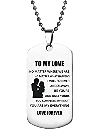 Dog Tag Necklace Gifts for Boyfriend Girlfriend Husband and Wife Jewelry Military Stainless Chains Air Force Pendants Daily, Birthday, Valentine's day Souvenir