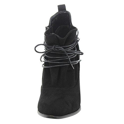 Athena Ed51 Womens Lace Up Bloc Enveloppé Talon Cheville Bottines Noir