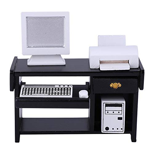 1:12 Scale Miniature Office Furniture Set Wooden Desk Computer Chair Printer Dollhouse Furniture Accessories