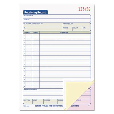 - Receiving Record Book, 5 1/2 x 7 7/8, Three-Part Carbonless, 50 Sets/Book