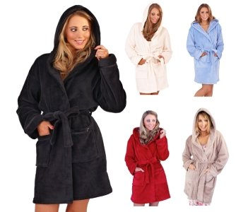 Negro Robes mujer señoras con para capucha dormir y de ropa de polar Albornoz suave cálida Super forro FSnTqRcpF