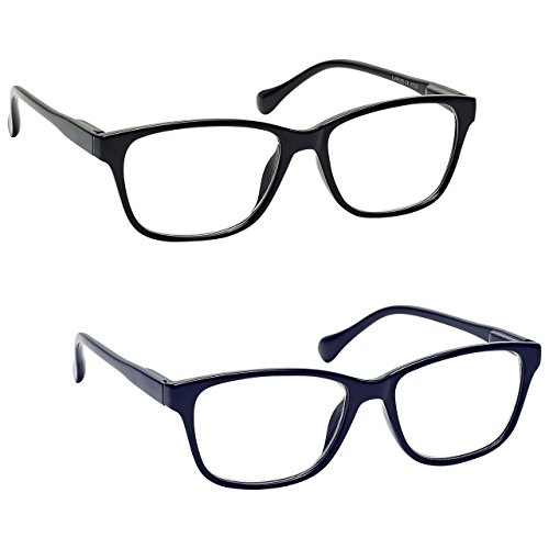 The Reading Glasses Company Black & Navy Blue Lightweight Readers Value 2 Pack Mens Womens Inc Bag RR27-13 +2.00 by The Reading Glasses Company