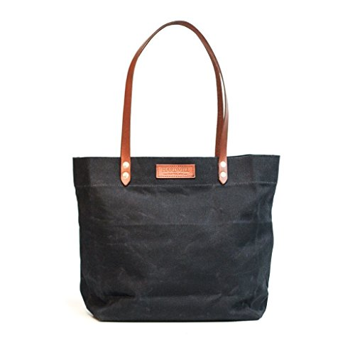 Market Tote - Waxed Canvas - Black - Made in USA by Hardmill