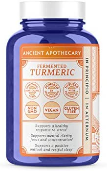 Ancient Apothecary Fermented Turmeric Supplement, 90 Capsules – Full-Spectrum Curcumin Infused with Organic Essential Oils and Digestive Bitters