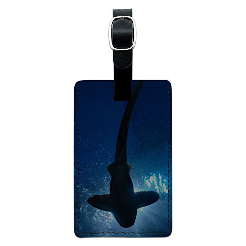 Diving Luggage Tag (Graphics & More Shark-Scuba Diving Leather Luggage Id Tag Suitcase Carry-on, Black)