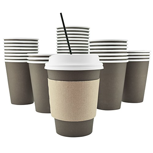 100 Pack - 12 Oz [8, 16, 20] Disposable Hot Paper Coffee Cups, Lids, Sleeves, Stirring Straws To Go - Coffee Hot Beverage