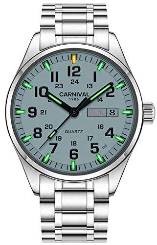 Men's Calendar Analog Quartz Watch Outdoor Military Tritium Gas Super Bright Self Luminous Blue Or Green (Green Light-White Dial) ()