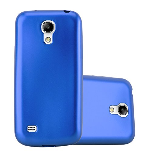 Cadorabo Case Works with Samsung Galaxy S4 Mini in Metallic Blue - Shockproof and Scratch Resistant TPU Silicone Cover - Ultra Slim Protective Gel Shell Bumper Back Skin