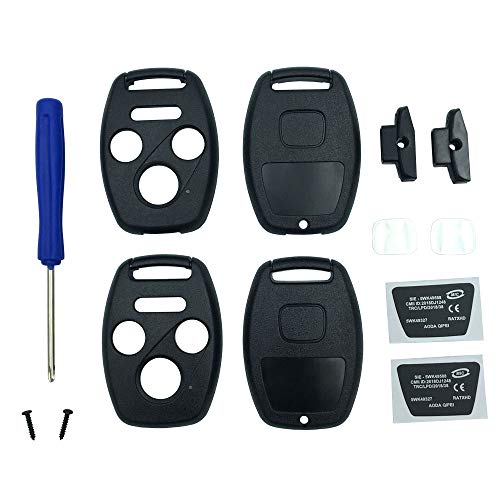 Key Fob Shell Case Fit for 4 Buttons Honda Accord Civic EX Pilot Keyless Entry Remote Car Key Housing Replacement with Free Screwdriver (Casing Only Without Blade) (Black pack 2)