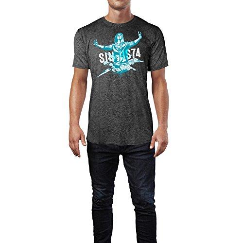 SINUS ART ® Grunge Gang Design mit Mann Herren T-Shirts in dunkelgrau Fun Shirt mit tollen Aufdruck