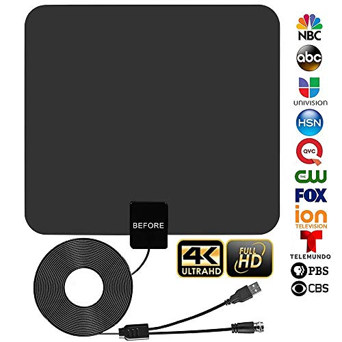 Digital TV Antenna, Indoor HDTV Antenna 60 Miles Range with Internal Amplifier Signal booster-4K HD VHF UHF Freeview for Life Local Channels Support All Television -13.2 ft Coax Cable